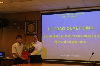 Lễ Công bố và trao Quyết định bổ nhiệm lại Phó Tổng biên tập Tạp chí Xã hội học