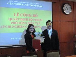 Trao Quyết định bổ nhiệm Phó Tổng biên tập Tạp chí Nghiên cứu Trung Quốc